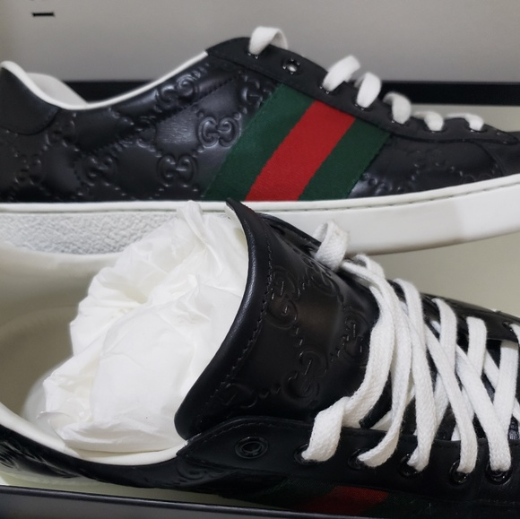 f4f8ff3a2f8 Gucci Other - Gucci Men s Black signature GG Sneakers Size 9.5